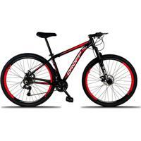 Bicicleta Dropp Aro 29 Freio A Disco Mecânico Quadro 19 Alumínio 21 Marchas Preto Vermelho