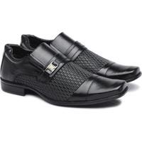 Sapato Social Pedway Masculino Elastico Conforto Elegancia - Masculino-Preto
