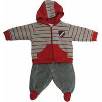 Conjunto Infantil Casaco E Macacão Plush Beth Bebê Masculino - Masculino-Cinza+Vermelho