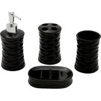 Kit Para Banheiro De Cerâmica Decorando Com Classe 4 Pçs Preto