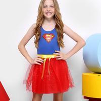 Fantasia Infantil Sulamericana Super Mulher Dress Up Feminina - Feminino-Azul