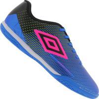 Chuteira Futsal Umbro Speed Sonic Ic - Adulto - Azul/Rosa
