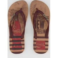 Chinelo Coca Cola Bottle Felling Masculino - Masculino-Marrom