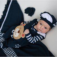 Saída De Maternidade Sônia Enxovais Menino Urso Gravatinha Marinho Com Branco