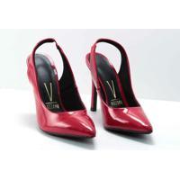 Scarpin Vizzano Chanel Verniz Feminino - Feminino-Vermelho