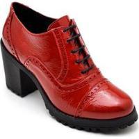 Bota Ankle Boot Oxford Em Couro Trivalle Shoes Feminina - Feminino-Vermelho