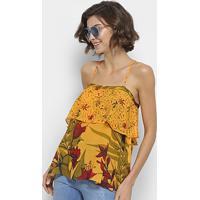 d2aff9d56 ... Blusa Forum Bata De Alcinha Floral - Feminino-Amarelo+Verde