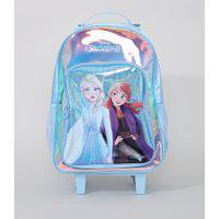 Mochila Infantil Frozen Com Rodas Azul Claro