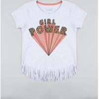 "Blusa Infantil ""Girl Power"" Com Franjas Manga Curta Decote Redondo Cinza Mescla Claro"