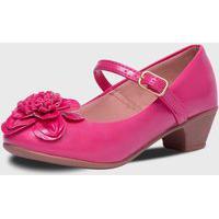 Sapato De Salto Pópidí Menina Flor Miolo Pink