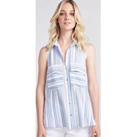 Camisa Listrada - Branca & Azul Claropop Up