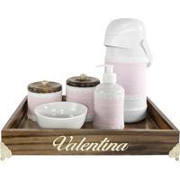 Kit Higiene Provenã§Al Dourado Com Nome Rosa Quarto Beb㪠Infantil Menina - Rosa - Menina - Dafiti