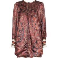Bytimo Vestido Vintage Com Estampa Paisley - Marrom
