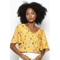 Blusa Com Amarraã§Ã£O & Botãµes- Amarela & Vermelhahering