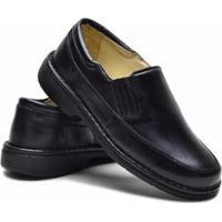 Sapato Casual Becos Total Confort Couro Liso Macio - Masculino-Preto