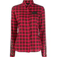 Philipp Plein Camisa Slim Xadrez - Vermelho