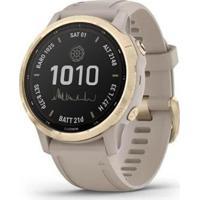 Monitor Cardíaco De Pulso Com Gps Garmin Fenix 6S Pro Solar Dourado Com Pulseira Areia Sa - Unissex-Cinza