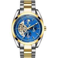 Relógio Tevise T795A Masculino Automático Pulseira Aço - Azul E Dourado