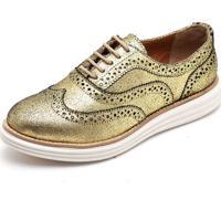 Sapato Oxford Casual Conforto Camurça Q&A 300 Ouro