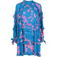Cynthia Rowley Vestido Billie Com Acabamento De Babados - Azul