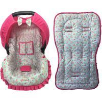 Conjunto Capa De Bebê Conforto E Capa De Carrinho Floral Alan Pierre Baby 0 A 13 Kg Azul Com Rosa
