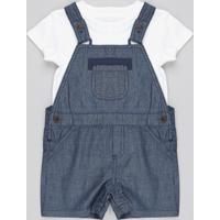 Jardineira Jeans + Body Infantil Xadrez Com Bolso Azul Marinho