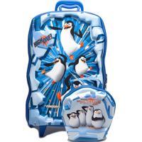 Kit Mochila De Rodas E Lancheira Max Toy Pinguins De Madagascar Ice G Azul/Branco