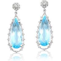 Brinco De Ouro 18K Com Diamante E Topázio Azul