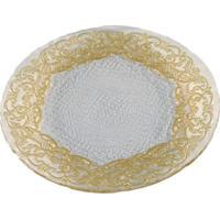 Prato Dunya De Servir De Vidro Ouro 28Cm Lace Dourado