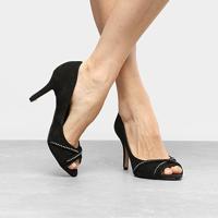 Peep Toe Couro Shoestock Salto Fino Strass - Feminino