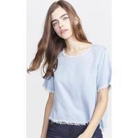 Blusa Lisa Com Desfiado - Azul & Brancapop Up