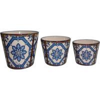 Jogo De Cachepots Florais- Azul Claro & Branco- 3Pçsbtc Decor