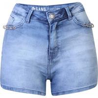 Short Jeans Cintura Alta Detalhe Piercing