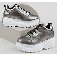Tênis Feminino Oneself Sneaker Chunky Metalizado Prateado