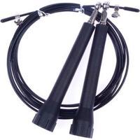 Corda De Pular Cabo Aço Com 2 Rolamentos Speed Rope Crossfit - Unissex-Preto