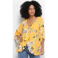 Blusa Mercatto Bata Floral Abertura Laço Feminina - Feminino-Amarelo
