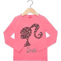 Blusa Malwee Barbie Infantil Rosa