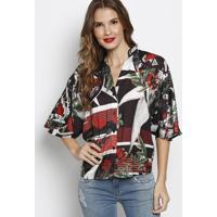 Camisa Com Botãµes & Tag- Preta & Vermelha- Forumforum
