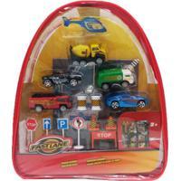 Mochila Com Mini Veículos E Acessórios - Fast Lane