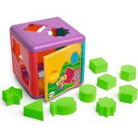 Blocos De Montar - Cubo De Encaixes Colorido - Elka - Unissex-Incolor