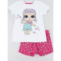 Pijama Infantil Lol Surprise Manga Curta Cinza Mescla