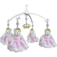 Móbile Musical Ursa Princesa Rosa E Coroa Dourada Quarto Bebê Infantil Menina Potinho De Mel