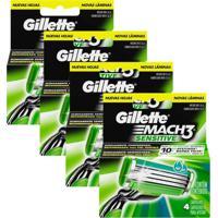 Kit Com 4 Cargas Gillette Mach3 Sensitive C/ 4 Unidades - Tricae
