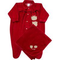 Jogo Saída Maternidade Ano Zero Bebê 2 Ursinhas Vermelho