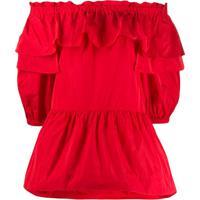 P.A.R.O.S.H. Blusa Ombro A Ombro - Vermelho