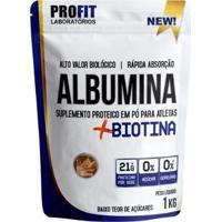 Albumina + Biotina 1Kg Profit Laboratório - Unissex-Amendoim