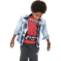 Jaqueta Jeans Infantil Masculina Com Efeito Destroyed Puc [] []