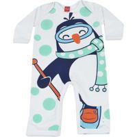 Macacão Infantil Get Baby Pinguim Masculino - Masculino-Branco
