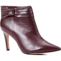 Bota Couro Shoestock Salto Fino Laço Metais Bico Fino