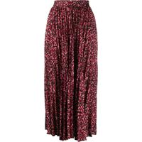 Andamane Pleated Leopard Print Skirt - Vermelho